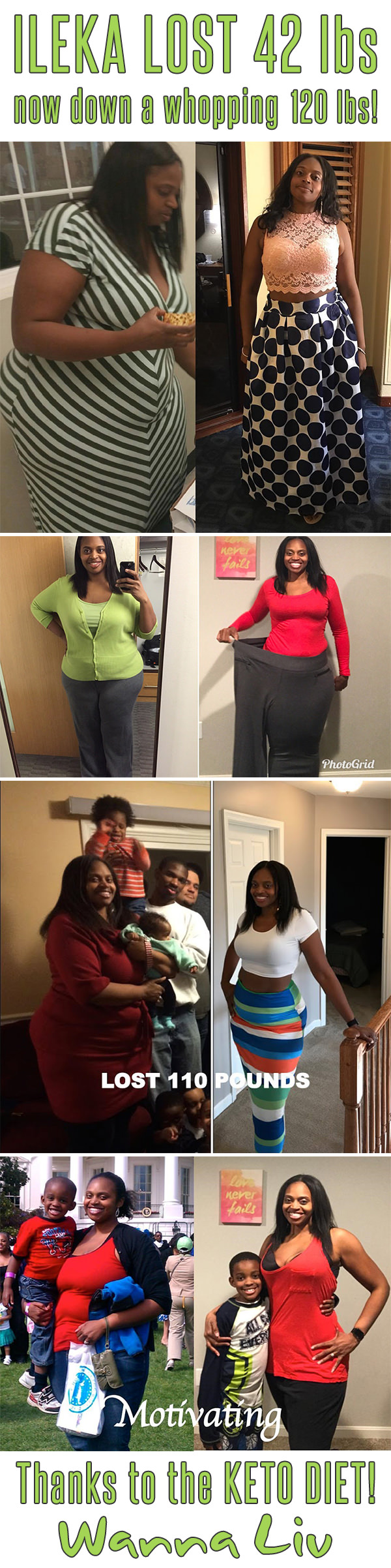 ILEKA LOST 42 lbs now down a whopping 120 lbs! Thanks to the KETO DIET! - Keto Success Stories #3 via Wanna Liv