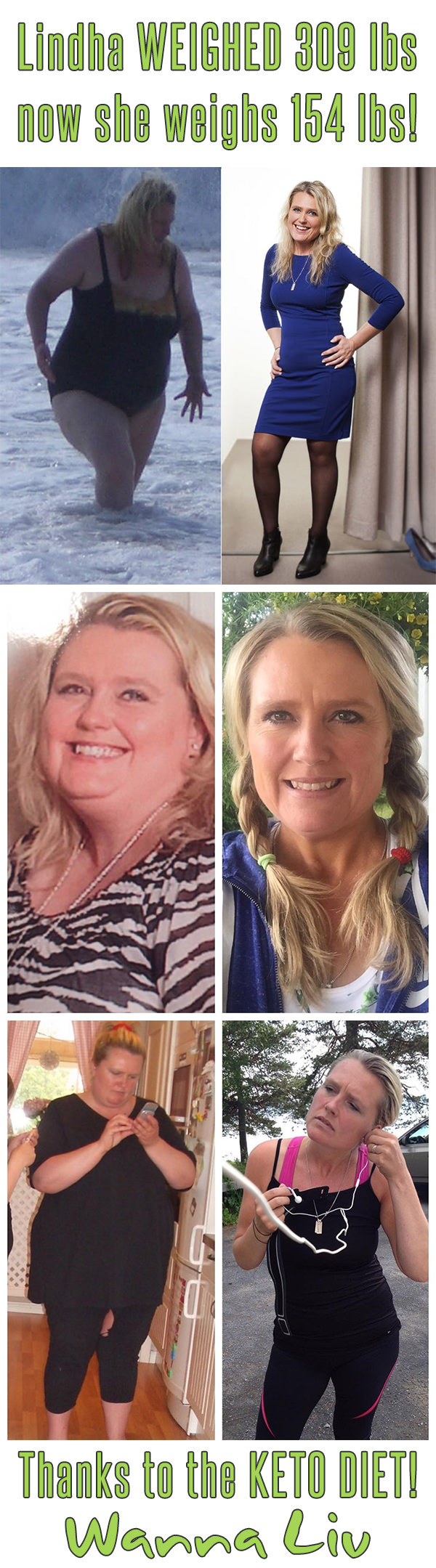 Lindha WEIGHED 309 lbs now she weighs 154 lbs! Thanks to the KETO DIET! - Keto Success Stories #7 via Wanna Liv