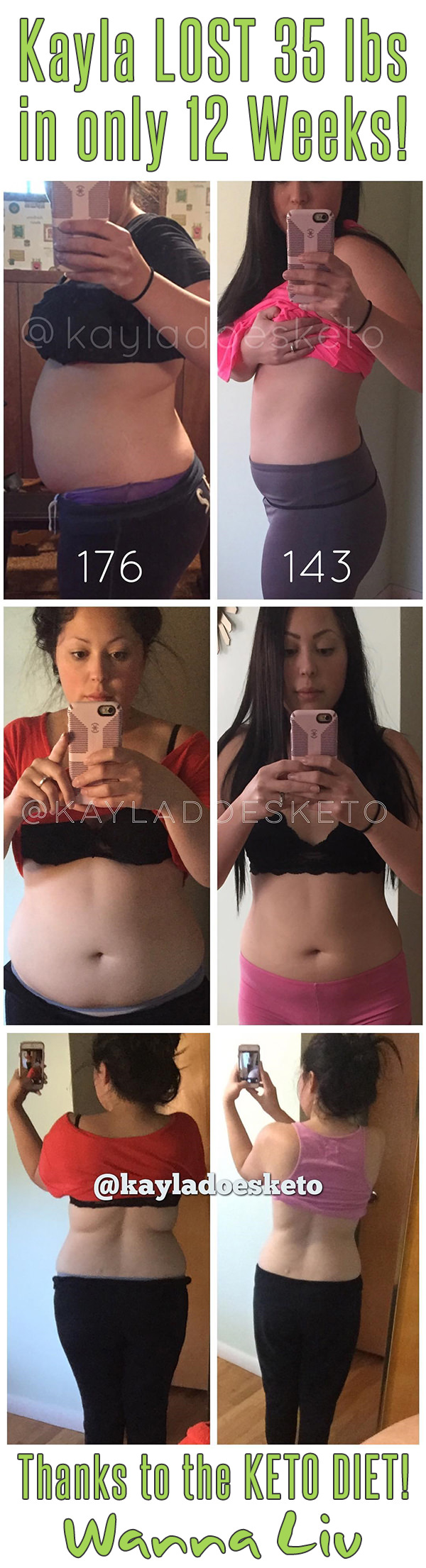 Kayla LOST 35 lbs in only 12 Weeks! Thanks to the KETO DIET! - Keto Success Stories #1 via Wanna Liv