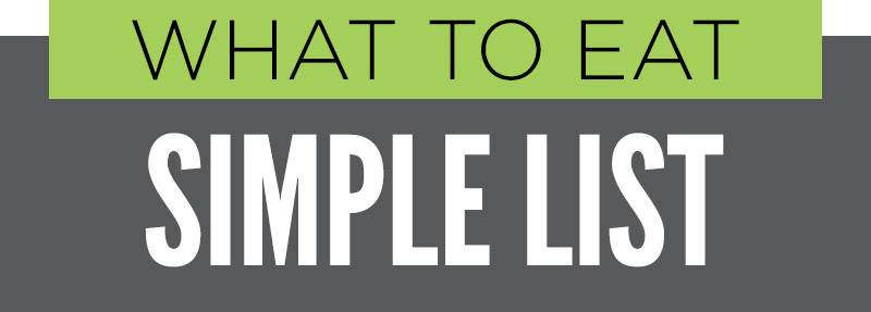 "Section heading graphic with text ""What To Eat - Simple List"""