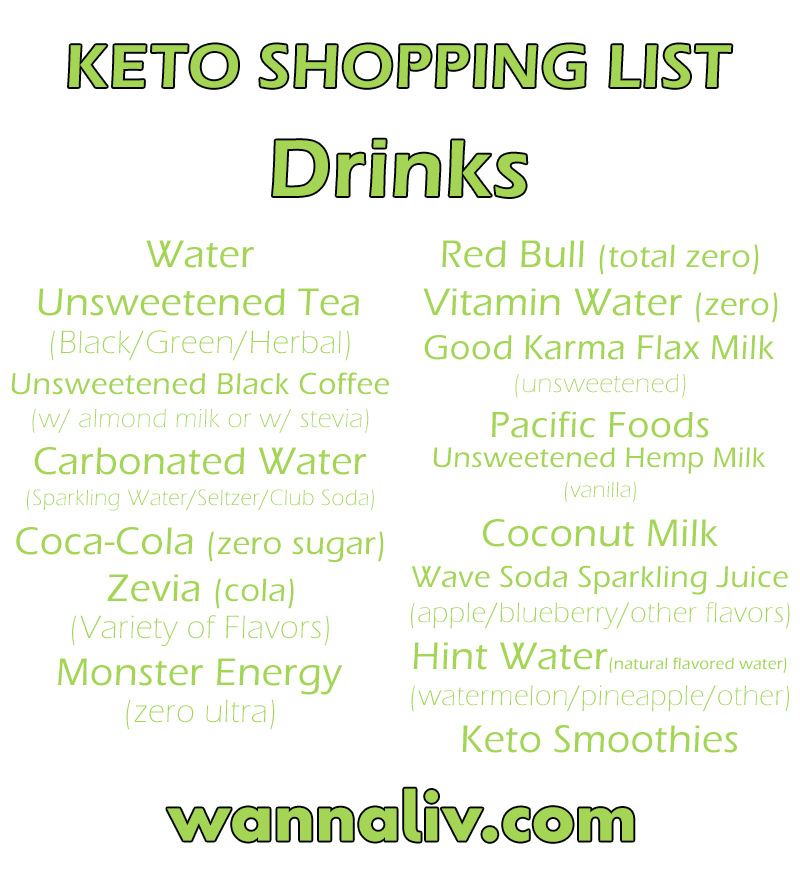 Keto Shopping List: Drinks via Wanna Liv #wannaliv