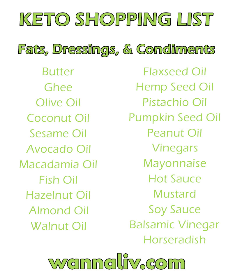 Keto Shopping List: Fats, Dressings, & Condiments via Wanna Liv #wannaliv
