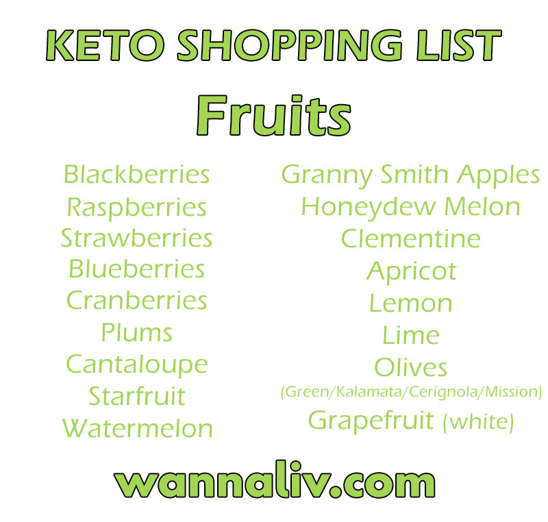 Keto Shopping List: Fruits via Wanna Liv #wannaliv
