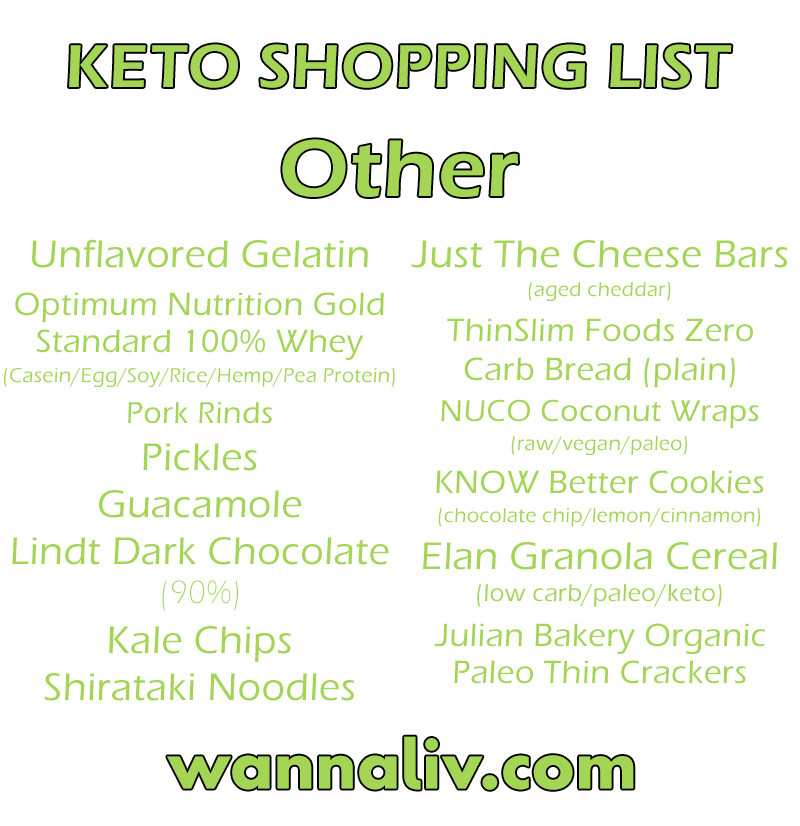 Keto Shopping List: Other via Wanna Liv #wannaliv