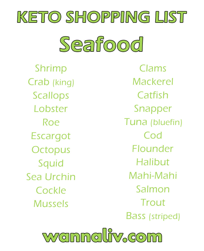 Keto Shopping List: Seafood via Wanna Liv #wannaliv