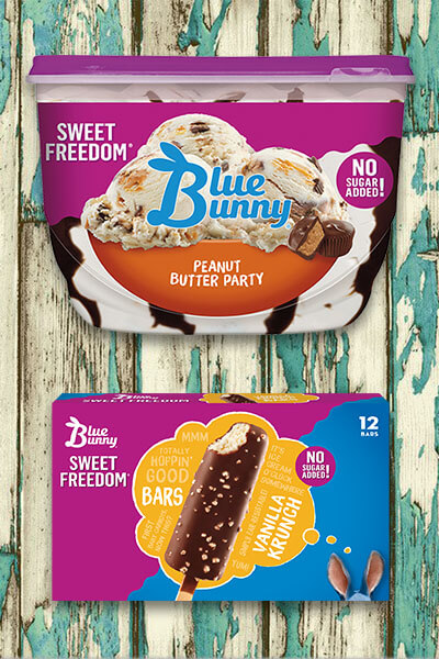 Keto/Low Carb Friendly Ice Cream Brands: Blue Bunny Sweet Freedom® via Wanna Liv