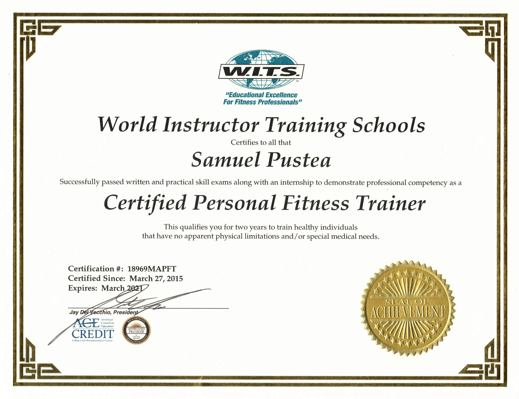 About The Founder: Certified Personal Trainer Certification by World Instructor Training Schools